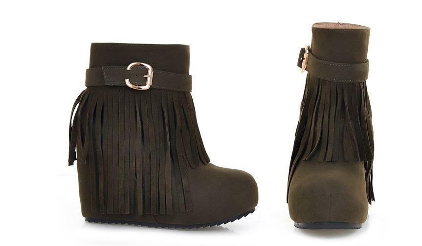 botas cómodo zapatos cm de mujer verde flecos cuña 10 cm zapatos como piel 8786 c5a9b2
