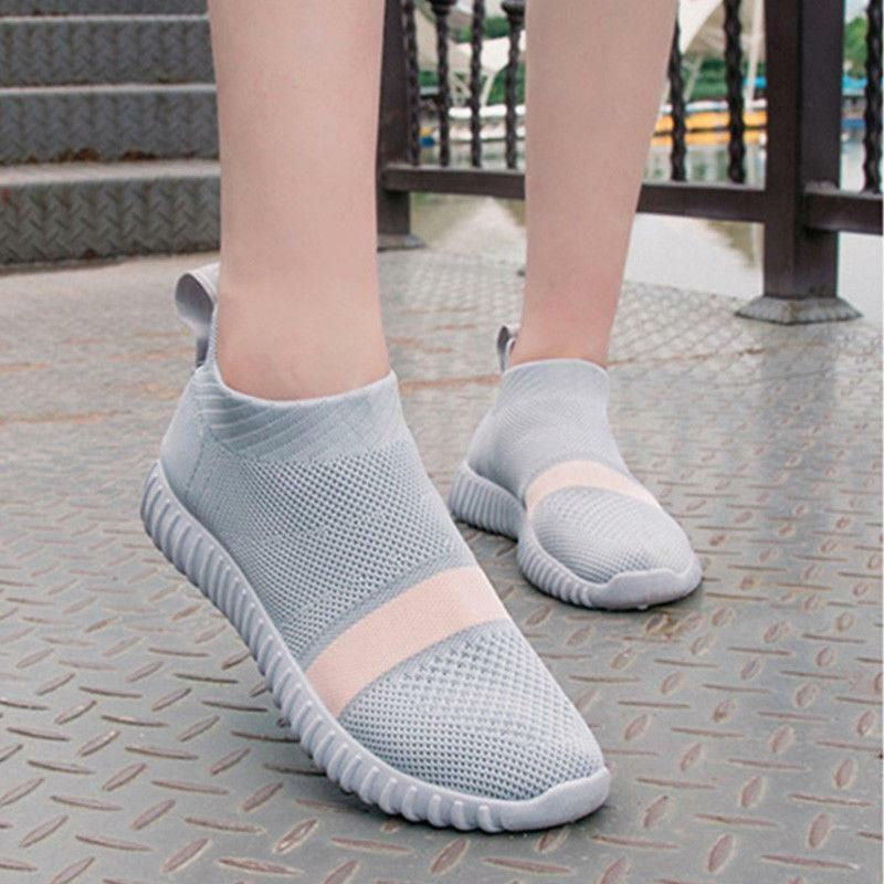 Womens Running Sneakers Athletic Sports shoes Slip on Breathable Fitness Muk15