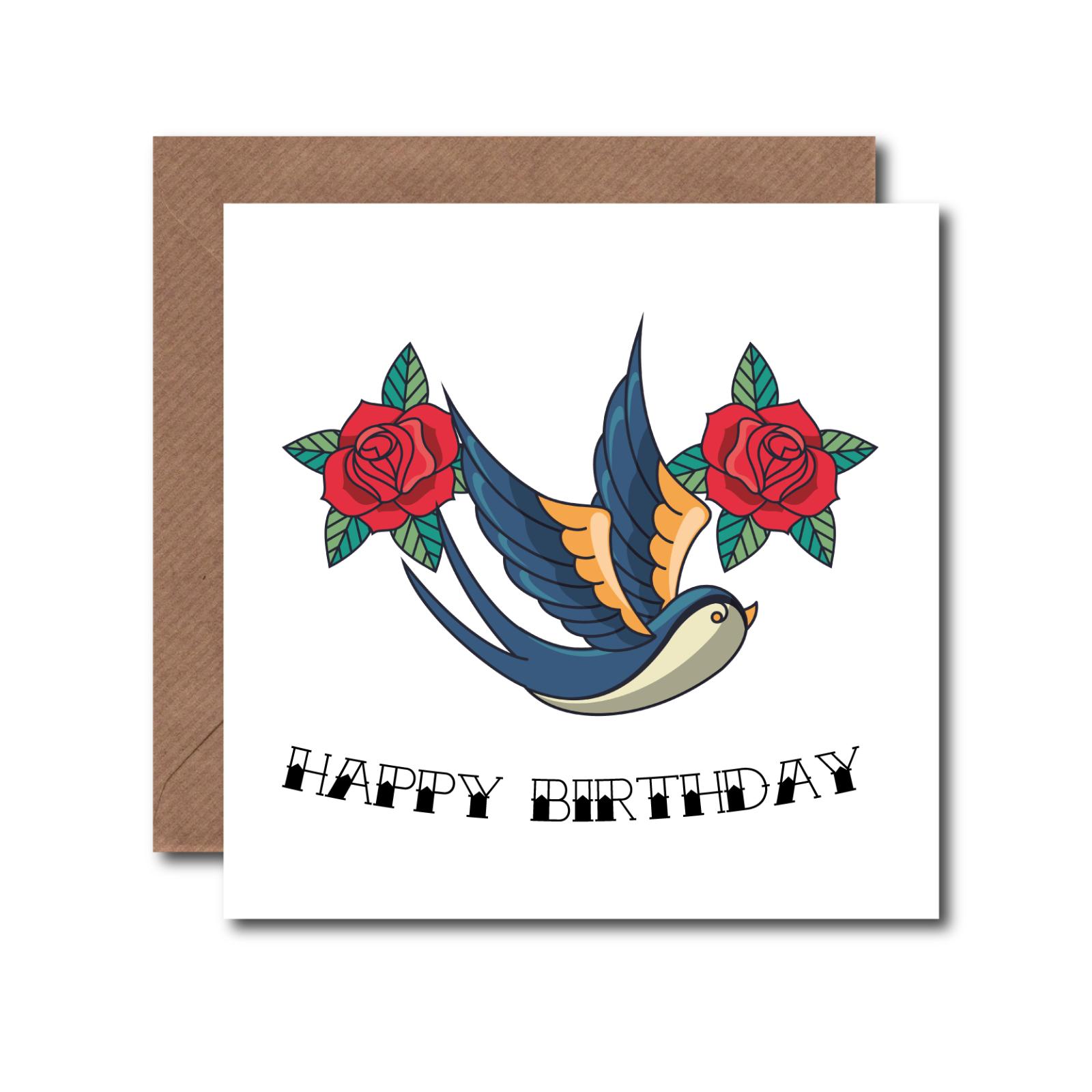 Aislamiento de tarjeta de Pájaro Tatuaje De Cumpleaños Divertido Para Papá Mamá amigo Hermana Hermano