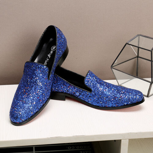 Dress uomo On da casual Loafers Driving Nightclub Scarpe New Slip Paillettes EqOwUznfAx
