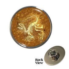 Ancient Fossil Pin Badge jurassic prehistoric animal skeleton archaeology NEW!