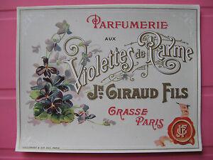 1 ANCIENNE ETIQUETTE PARFUM VIOLETTES PARME/ANTIQUE PERFUME LABEL FRENCH PARIS