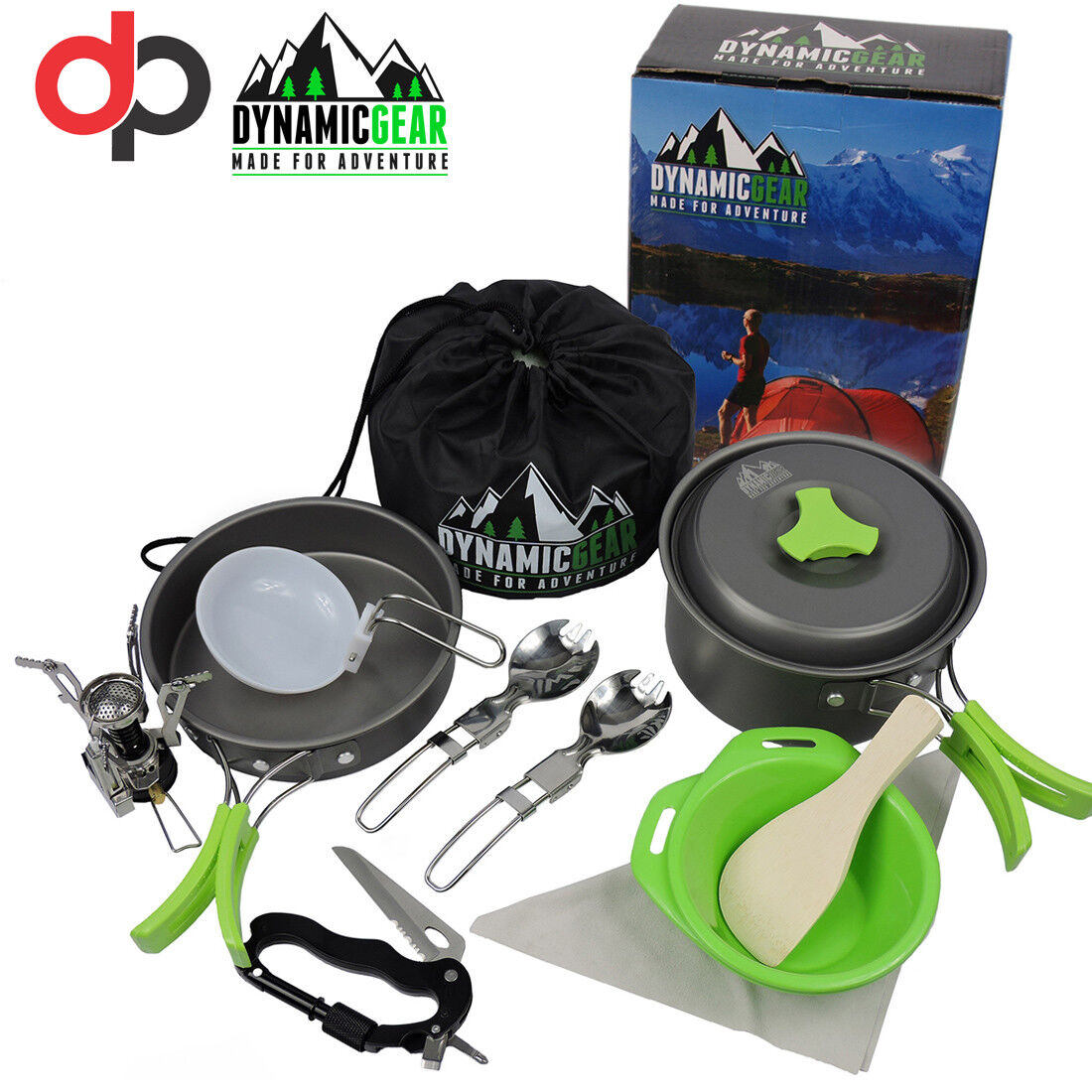 Portable Camping Cookware Mess Kit By DynamicGear 13 pcs Lightweight Stove inc.