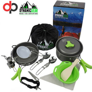 Portable-Camping-Cookware-Mess-Kit-By-DynamicGear-13-pcs-Lightweight-Stove-inc