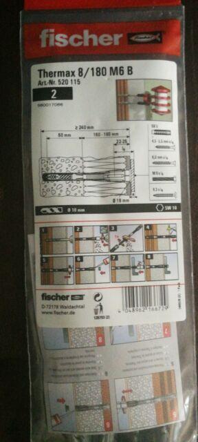 2 Stück Fischer Thermax 8/180 M6 Dübel für Wärmeverbundsysteme Aussenisolierung