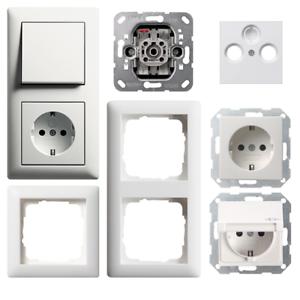 Details zu Gira Standard 55 / System 55 reinweiß SEIDENMATT Steckdose  Schalter Wippe -Ausw.