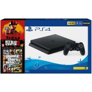 PS4 500GB + READ DEAD REDEMPTION 2 + GTA V: PREMIUM EDITION + MANDO DUALSHOCK 4