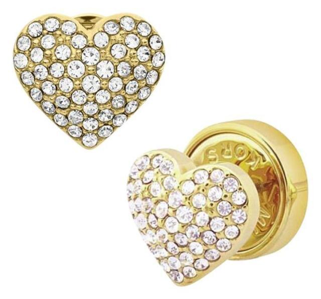 f3f538ba8b891 Michael Kors Mkj3025 710 Gold Tone Stud Pave Crystal Heart Earrings Jewelry