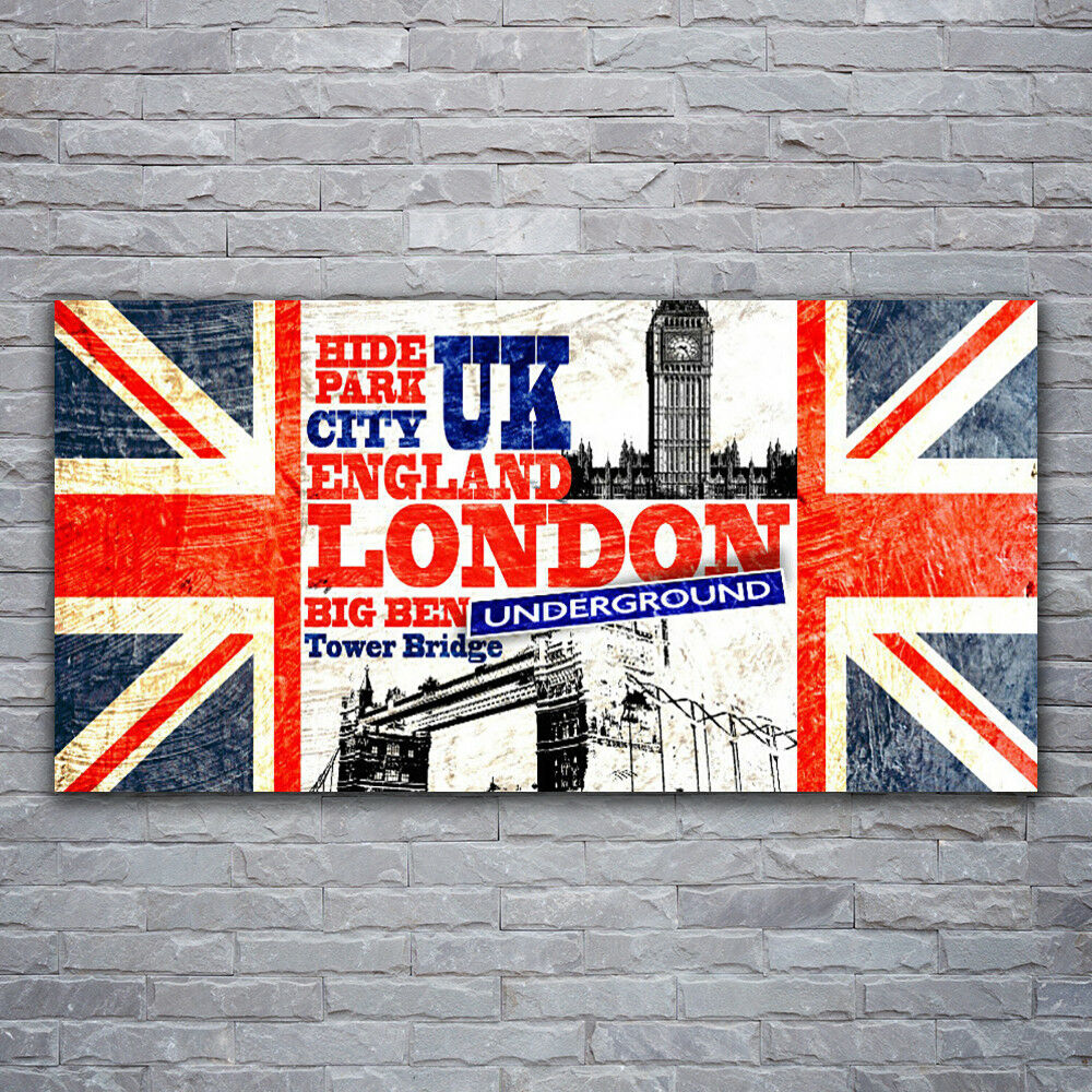 Verre Imprimer Wall Art Image 120x60 Photo Londres Drapeau Art
