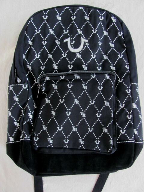 True Religion Unisex Backpack -Monogram Print -Black with White-NWT- Retail   149 12311faa87b42