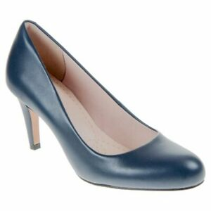 Clarks-Carlita-Cove-Navy-leather-ladies-classic-shoes-size-6-5-40-E-Wider-fit