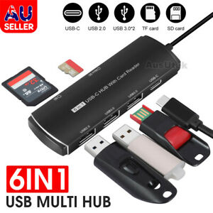USB 3.0 Multi Hub 6 Ports Adapter Charger TF SD Card Reader Type C PC Macbook