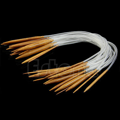 "New 18Pairs 16"" Circular Smooth Nature Bamboo Carbonized Knitting Needles Set"