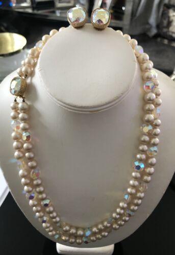 Vintage Marvella Faux Pearl AB Crystals Necklace &