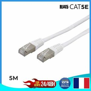 Cable-reseau-ethernet-RJ45-CAT-5E-BLANC-Ordinateur-Console-Jeux-video-5m