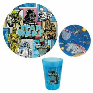 New-STAR-WARS-Kids-3-Piece-Dinnerware-Set-Plate-Bowl-Cup-BPA-Skid-Free-Kohls