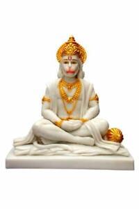 Handcrafted MARMO Hindu Dio Hanuman JI IDOLO per la casa TEMPIO STATUA 10 pollici