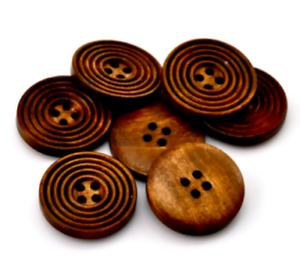 60 Stück Holzknöpfe 25mm rund 4 Löcher Knopf braun Schmuck Nähen Basteln