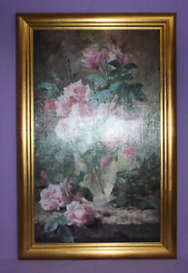 Still Life Of Pink Roses In A Glass Vase F. Mortelmans 12x20 Framed Reproduction