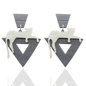 Fashion-Women-Cat-Striped-Acrylic-Long-Drop-Dangle-Earrings-Jewelry-Gift