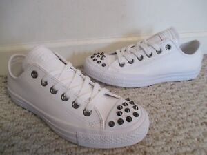 5cdb400b538d7 Converse All Star studded white leather sneakers shoes size 7 Womens ...