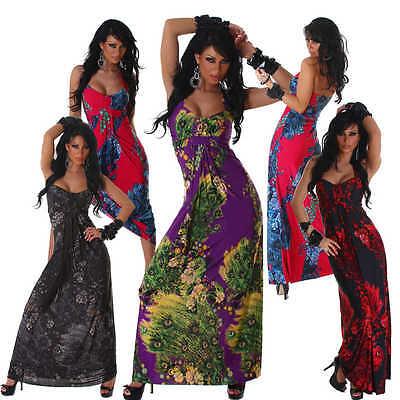 Neckholderkleid Maxikleid lang bunt Einheitsgröße 34 36 38 Sommer Kleid Tanz Neu