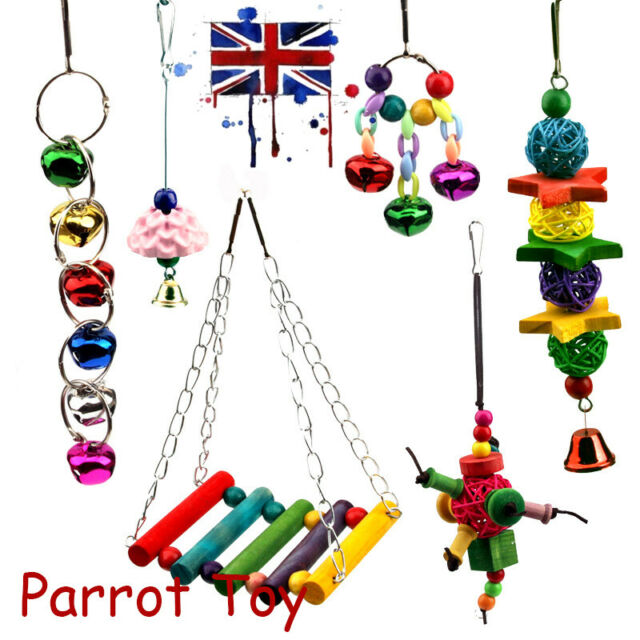 6 Pack Beaks Metal Rope Parrot Toy Set Budgie Cockatiel Cage Small Bird Toys