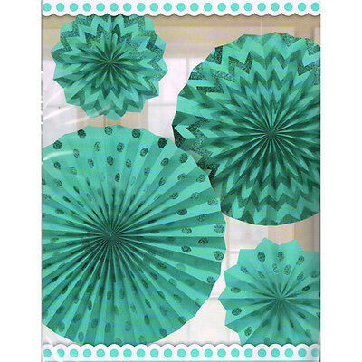 ROBIN/'S EGG BLUE PRINTED GLITTER FAN DECORATIONS 4 ~ Birthday Party Supplies