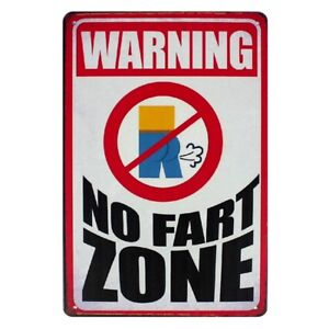 Metal-Tin-Sign-warning-no-fart-zone-Decor-Bar-Pub-Home-Vintage-Retro-Poster