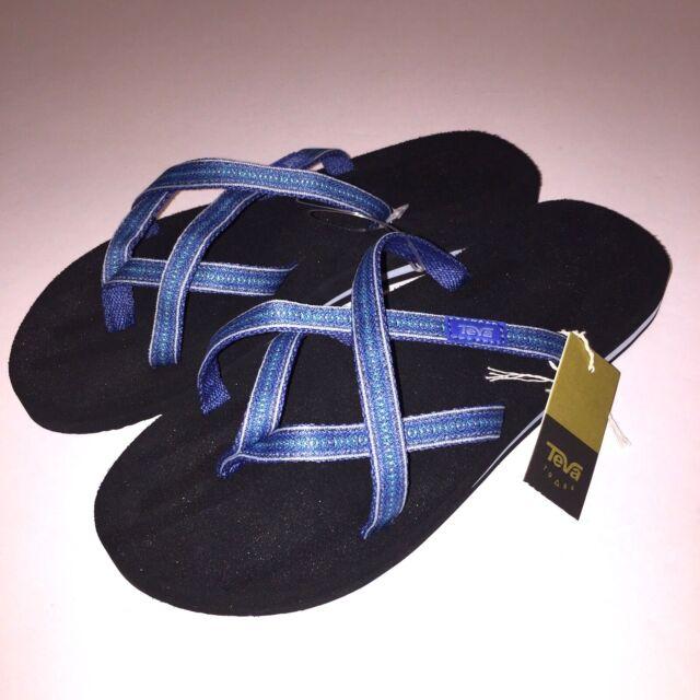 57f59305aa899d Teva Womens Flip Flops Olowahu Strappy Thongs Sandals 6840 Blue Pintardo  NWT  59