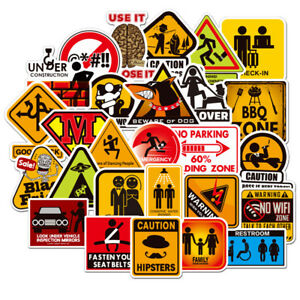 Details About 50pcs Warning Stickers Danger Waterproof Decal Sticker To Diy Luggage Laptop