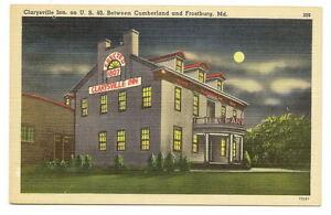 CLARYSVILLE-MD-Inn-Hotel-US-40-Vtg-Night-View-Postcard