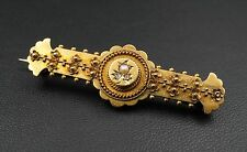 Antique Victorian 15k 15ct Rose Gold Diamond Seed Pearl Brooch Pin Pendant OG121