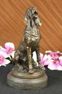 Vintage-Art-Deco-Coule-Solide-Bronze-Chien-Bloodhound-Figurine-Marbre-Sculpture-Vente