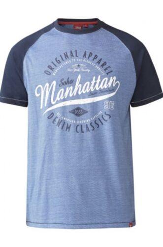 D555 Duke Big Tall Homme Manhattan Imprimer T-shirt Long Longueur L XL 2XL 3XL T16442