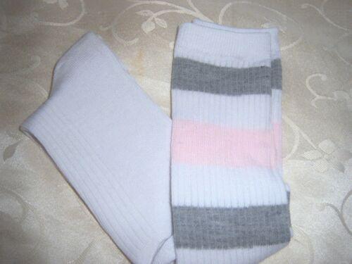 OLD SCHOOL ladies boys KNEE HIGH TUBE socks football baseball WHITE w//stripes