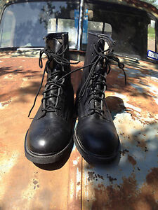 7a6a38d24de Details about VINTAGE 1994 WOLVERINE WORLD WIDE BLACK LEATHER STEEL TOE  MILITARY BOOTS 8 M