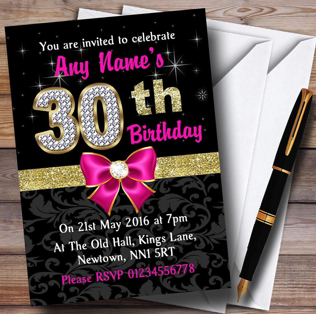 Rose noir or diaFemmets 30ème anniversaire party invitations personnalisées personnalisées invitations 156b27