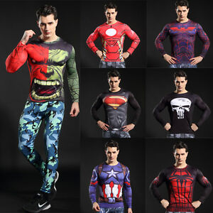 Men-039-s-Compression-Marvel-Superhero-Tee-T-Shirts-Sportswear-Bicycle-Jersey-Tops