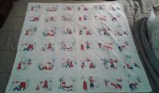 Vintage Hispanic Mexican Southwestern USA tablecloth Donkey Siesta Basket 47x48