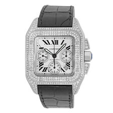 CARTIER Stainless Steel Large Santos 100 XL Chronograph Pave Diamonds Warranty