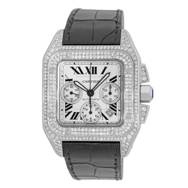 e3aaa87d570c CARTIER Stainless Steel Large Santos 100 XL Chronograph Pave Diamonds  Warranty