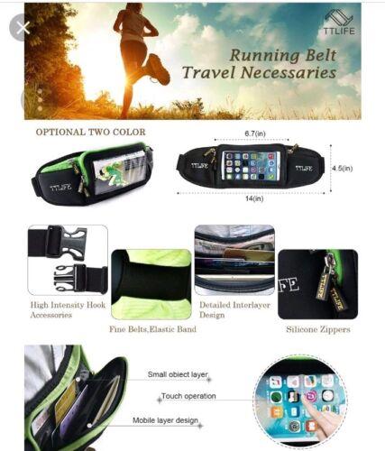 TT Life Workout Running Waist Belt Travel Black Green