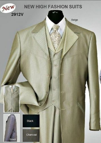 Herren 4 button Shark Skin Wool Feel Zoot Suit with Fancy Vest ,Waist Band 2912V