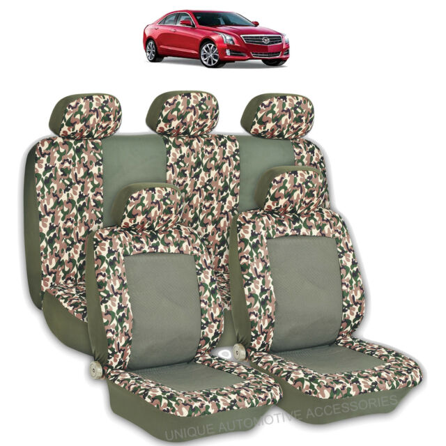 2 TONE GREEN CAMO HIGH QUALITY FRONT REAR SEAT COVERS 9PC SET FOR CARS 2765
