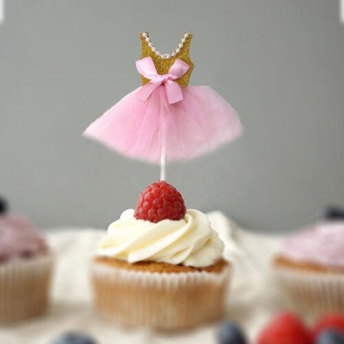 5Pcs Exquisite Ballerina Skirt Cake Accessories Cupcake Picks for Birthday Girls