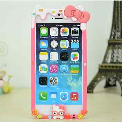 Hello Kitty Melting Ice Cream Soft Gel Side Bumper Cover Case iPhone 6 6S Plus