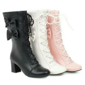 Womens-Bowknot-Block-Heel-Lace-Up-Mary-Janes-Lolita-Round-Toe-Shoes-Boots-Pumps
