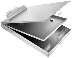 AdirOffice Aluminum Dual Storage Clipboard Multi Compartment Desktop File Holder