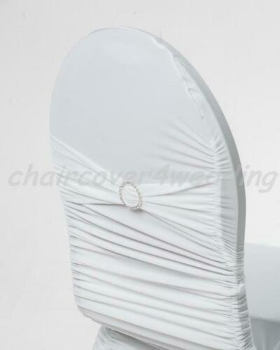 50 Spandex Ruched Chair Cover With Diamante White